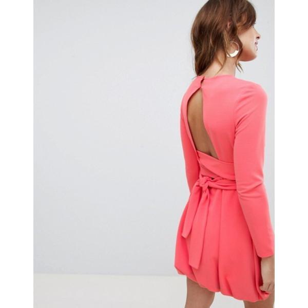 エイソス レディース ワンピース トップス ASOS DESIGN mini shift dress with bubble hem and wrap belt