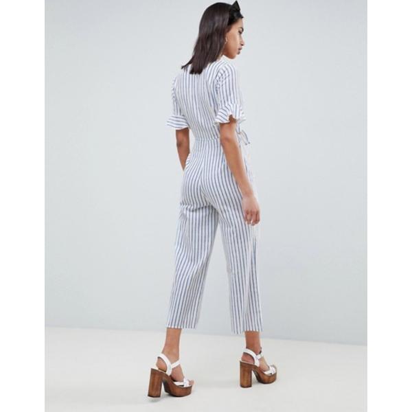エイソス レディース ワンピース トップス ASOS DESIGN tea jumpsuit with cut out and tie detail in linen in stripe