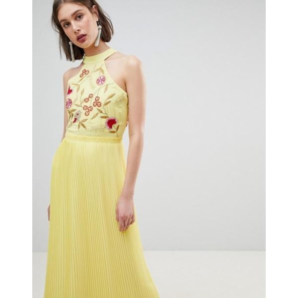 フロック レディース ワンピース トップス Frock And Frill Embroidered Top Pleated Maxi Dress