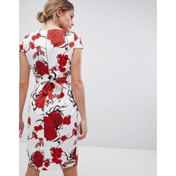 クローゼットロンドン レディース ワンピース トップス Closet London Tie Back Short Sleeve Dress In Large Floral Print