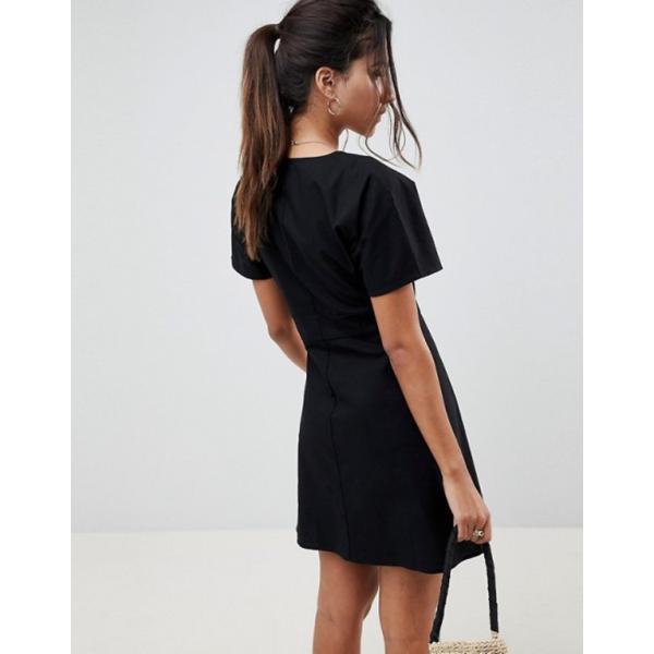 エイソス レディース ワンピース トップス ASOS DESIGN button through mini casual skater dress