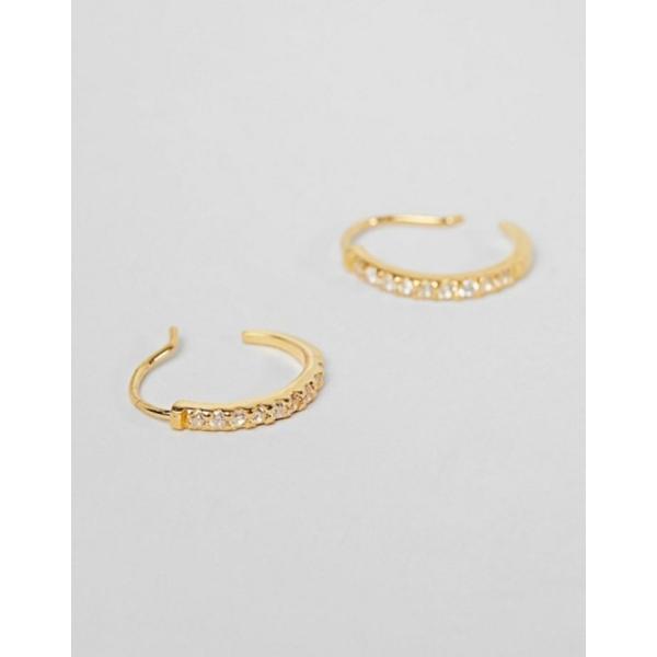 エイソス レディース ピアス・イヤリング アクセサリー ASOS DESIGN gold plated sterling silver pull through hoop earrings with crystals
