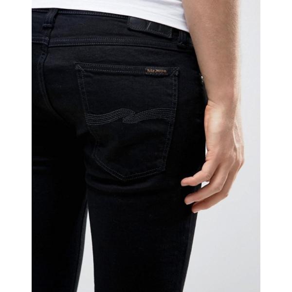 ヌーディージーンズ メンズ デニムパンツ ボトムス Nudie Jeans Co Skinny Lin jeans in black|revida|03