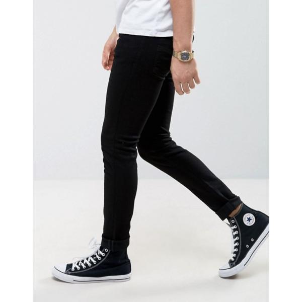 ヌーディージーンズ メンズ デニムパンツ ボトムス Nudie Jeans Co Skinny Lin jeans in black|revida|04