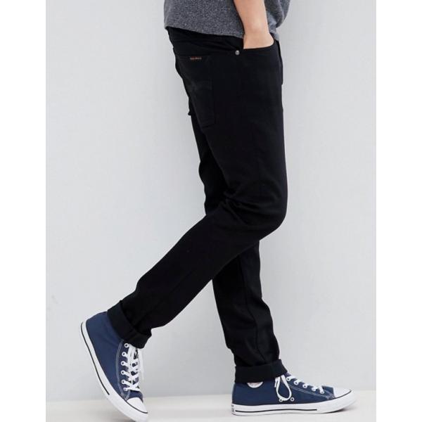 ヌーディージーンズ メンズ デニムパンツ ボトムス Nudie Jeans Co Lean Dean jeans in ever black|revida|04