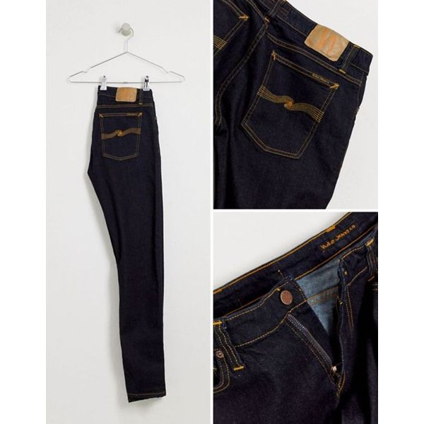 ヌーディージーンズ メンズ デニムパンツ ボトムス Nudie Jeans Co Skinny Lin super skinny jeans in deep orange revida 04