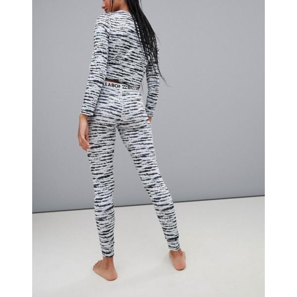 ビラボン レディース レギンス ボトムス Billabong Warm Up base layer tech leggings in black/white|revida|02
