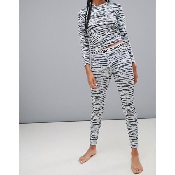 ビラボン レディース レギンス ボトムス Billabong Warm Up base layer tech leggings in black/white|revida|04