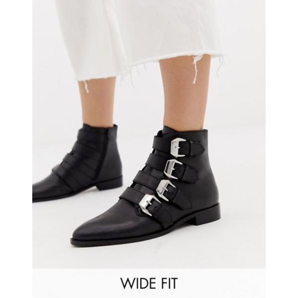 エイソス レディース ブーツ・レインブーツ シューズ ASOS DESIGN Wide Fit Alissa leather buckled boots
