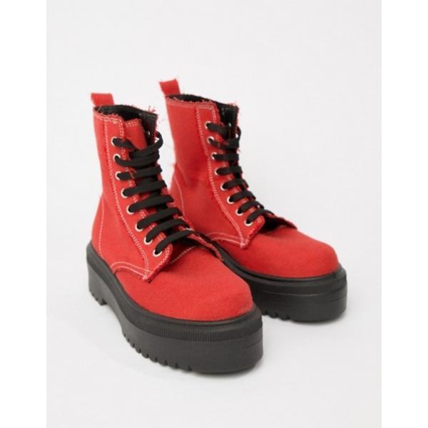 エイソス レディース ブーツ・レインブーツ シューズ ASOS DESIGN Attitude chunky canvas lace up boots