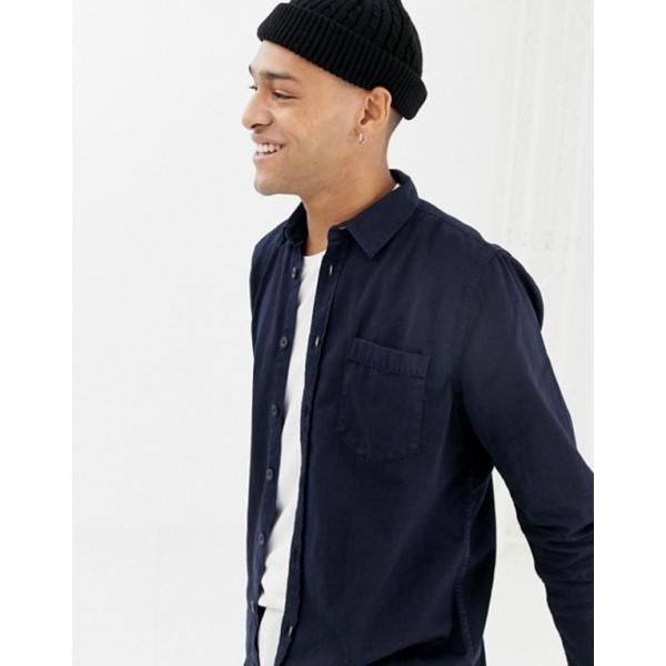 ヌーディージーンズ メンズ シャツ トップス Nudie Jeans Co Henry button down shirt in navy|revida|03