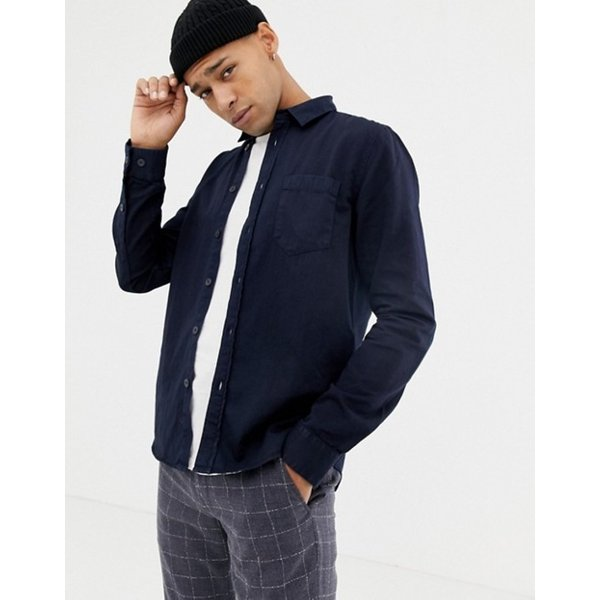 ヌーディージーンズ メンズ シャツ トップス Nudie Jeans Co Henry button down shirt in navy|revida|04