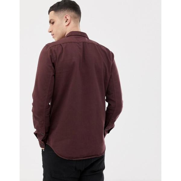 ヌーディージーンズ メンズ シャツ トップス Nudie Jeans Co Henry button down shirt in plum|revida|02