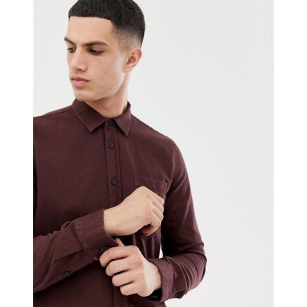 ヌーディージーンズ メンズ シャツ トップス Nudie Jeans Co Henry button down shirt in plum|revida|03