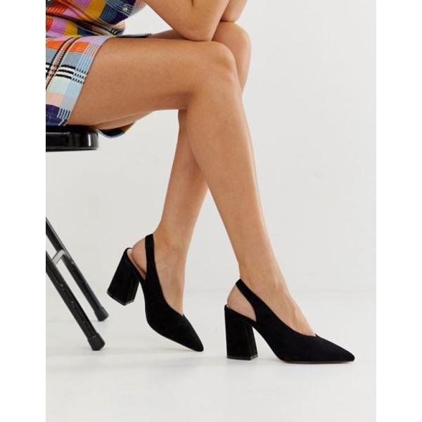 ミスセルフフリッジ レディース ヒール シューズ Miss Selfridge sling back heeled shoes in black