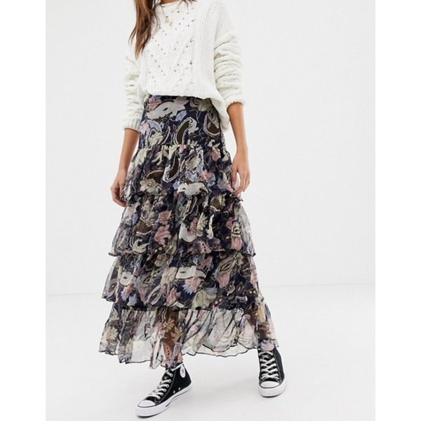 グラマラス レディース スカート ボトムス Glamorous floral midi skirt