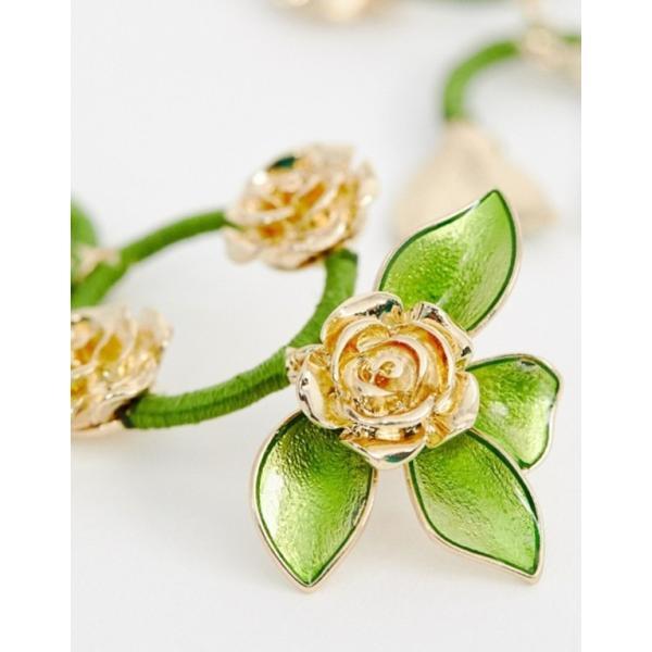 エイソス レディース ピアス・イヤリング アクセサリー ASOS DESIGN statement earrings in pretty floral drops in gold