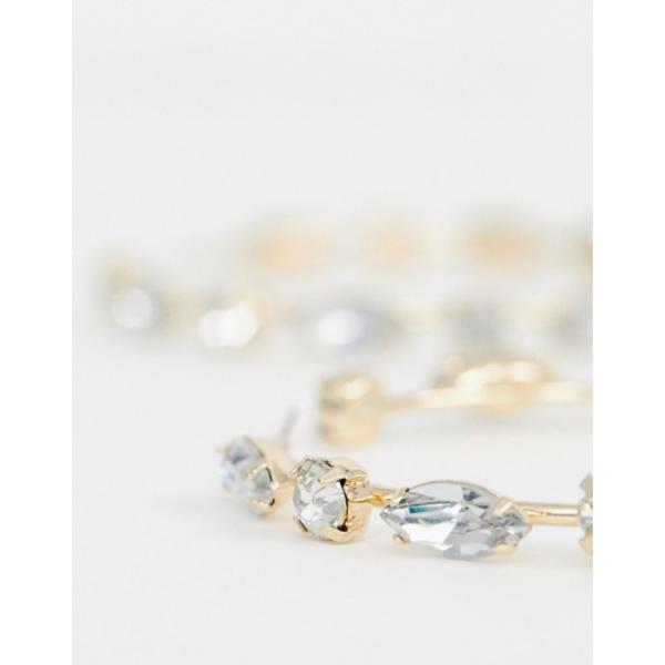エイソス レディース ピアス・イヤリング アクセサリー ASOS DESIGN earrings oversize hoops with jewel detail in gold