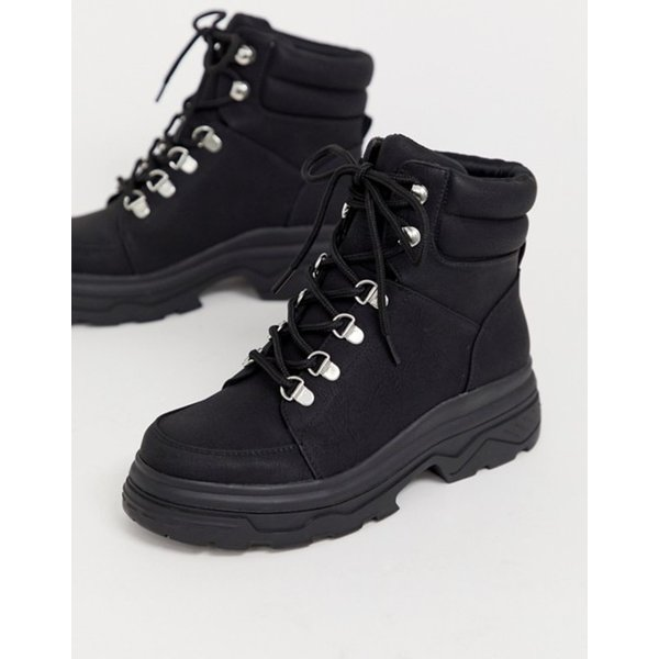ニュールック レディース ブーツ・レインブーツ シューズ New Look chunky lace up flat boots in black