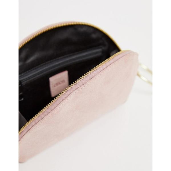 エイソス レディース クラッチバッグ バッグ ASOS DESIGN suede half moon clutch bag with wristlet ring detail