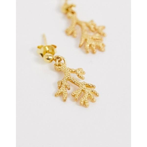 エイソス レディース ピアス・イヤリング アクセサリー ASOS DESIGN Sterling silver with gold plate earrings with coral drop