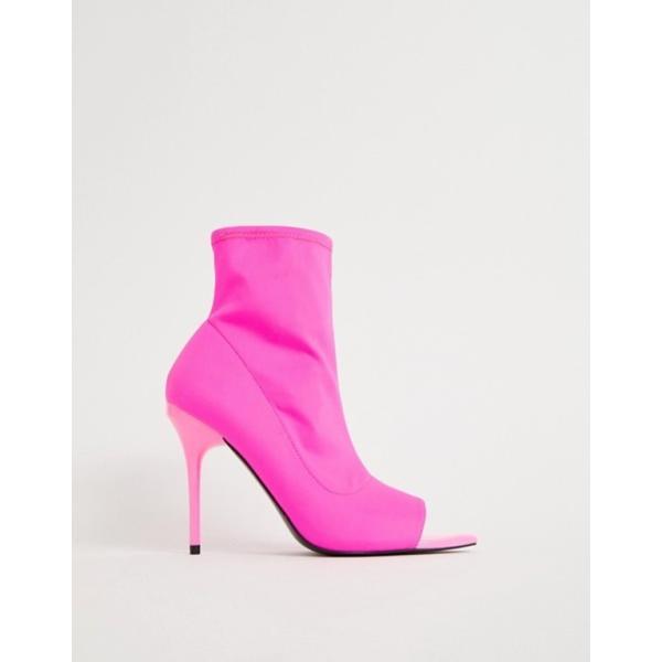 エイソス レディース ブーツ・レインブーツ シューズ ASOS DESIGN Esther stiletto sock boots in neon pink