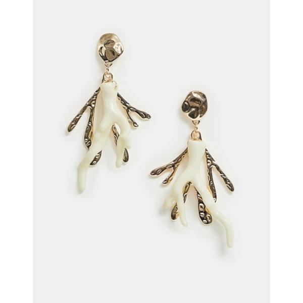 エイソス レディース ピアス・イヤリング アクセサリー ASOS DESIGN earrings in coral design with resin and hammered metal in gold