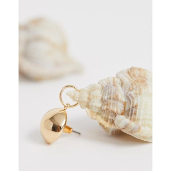 エイソス レディース ピアス・イヤリング アクセサリー ASOS DESIGN earrings with faux conch shell drop in gold