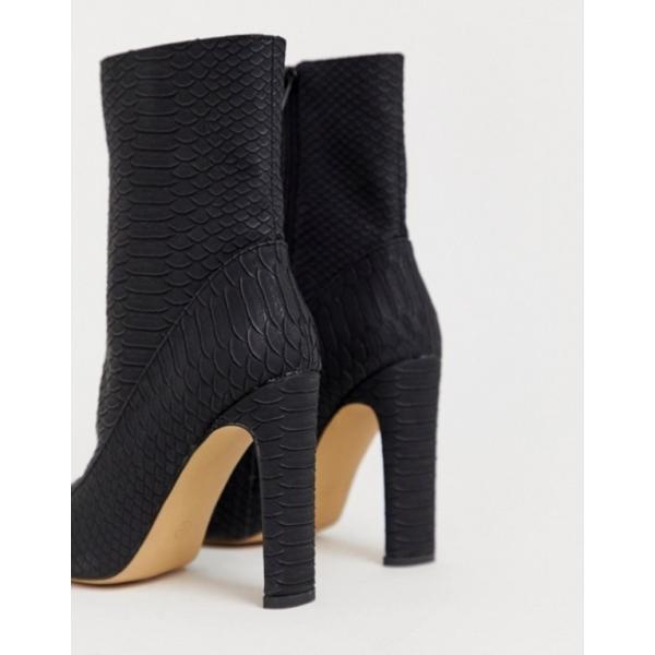 ミスガイデッド レディース ブーツ・レインブーツ シューズ Missguided square toe faux suede ankle boot in black snake