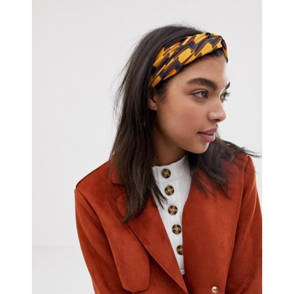 エイソス レディース ヘアアクセサリー アクセサリー ASOS DESIGN headband with oversized twist front in geo monogram print