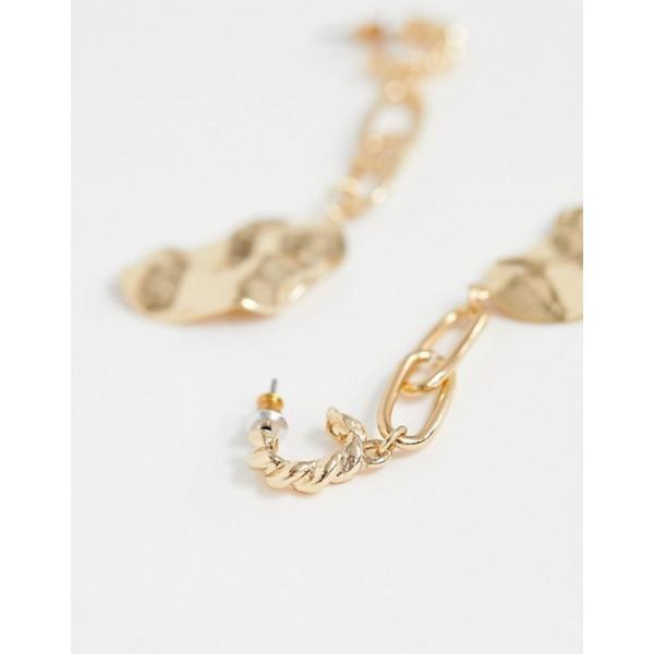 エイソス レディース ピアス・イヤリング アクセサリー ASOS DESIGN earrings in open link chain drop with molten disc in gold tone