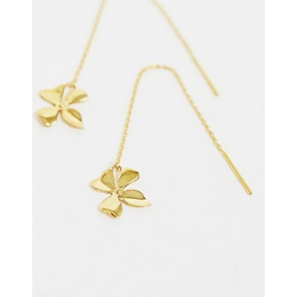 エイソス レディース ピアス・イヤリング アクセサリー ASOS DESIGN sterling silver with gold plate pull through earrings with flower pendant