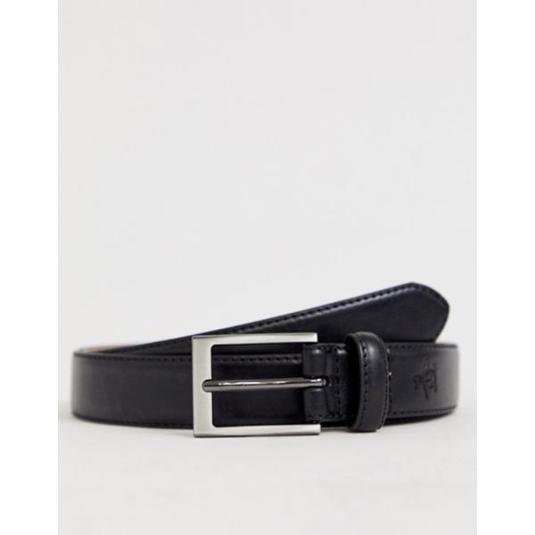 オリジナルペンギン メンズ ベルト アクセサリー Original Penguin smart leather belt in black|revida