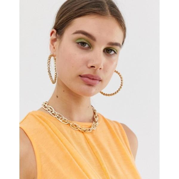 リバーアイランド レディース ピアス・イヤリング アクセサリー River Island textured hoop earrings in gold