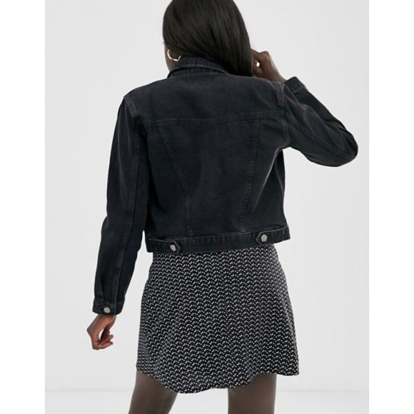エイソス レディース ジャケット・ブルゾン アウター ASOS DESIGN denim shrunken jacket in black
