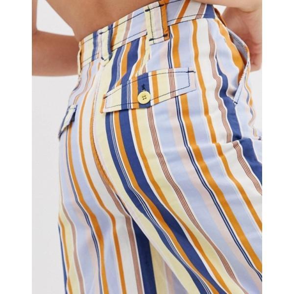 エイソス レディース カジュアルパンツ ボトムス ASOS DESIGN stripe straight leg pants with split