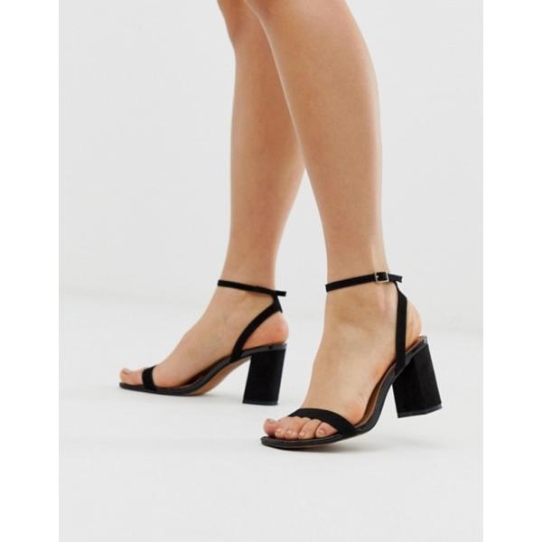 エイソス レディース ヒール シューズ ASOS DESIGN Hong Kong barely there block heeled sandals in black