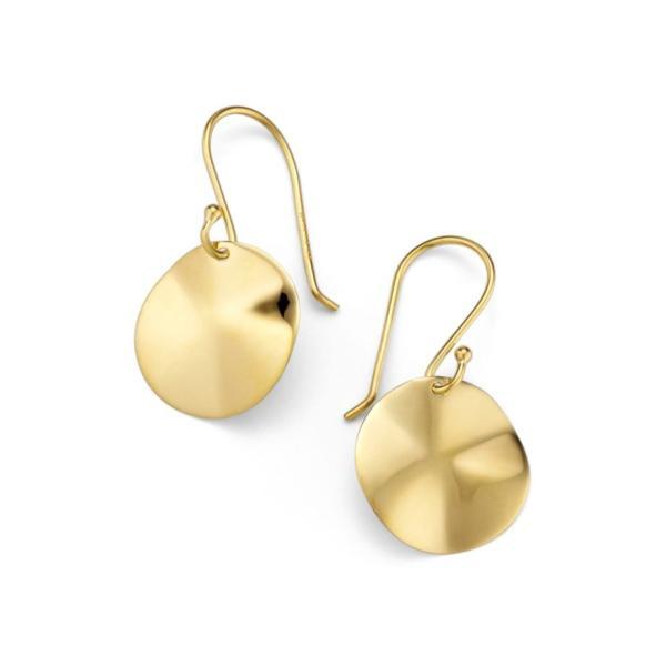 イッポリスタ レディース ピアス・イヤリング アクセサリー Ippolita 'Plain' Mini Wavy Disc 18k Gold Earrings|revida