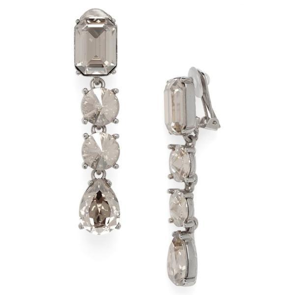 オスカー デ ラ レンタ レディース ピアス・イヤリング アクセサリー Oscar de la Renta Classic Crystal Linear Drop Earrings
