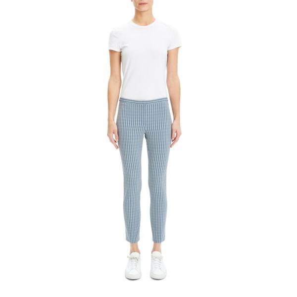 セオリー レディース カットソー トップス Theory Windowpane Classic Skinny Pants