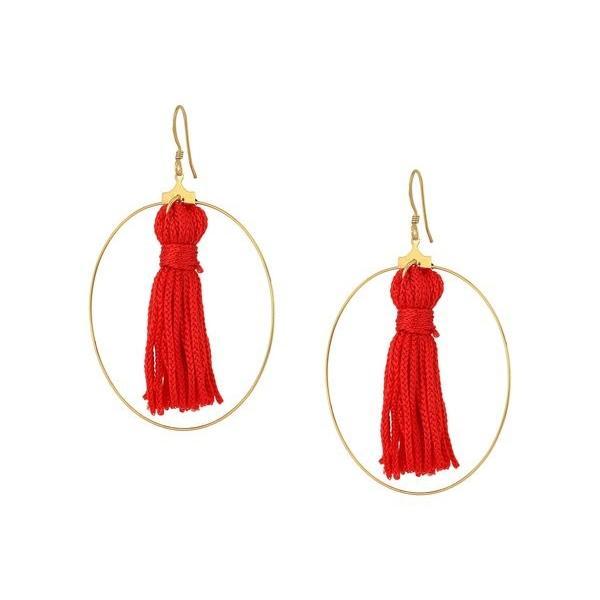 ケネスジェイレーン レディース ピアス・イヤリング アクセサリー Gold Hoop w/ Red Tassel Fishhook Earrings