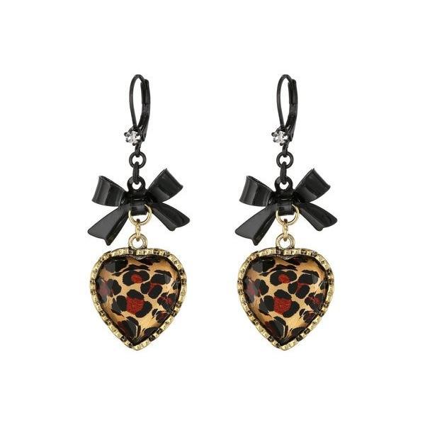 ベッツィジョンソン レディース ピアス・イヤリング アクセサリー Euro Leopard Heart Black Bow