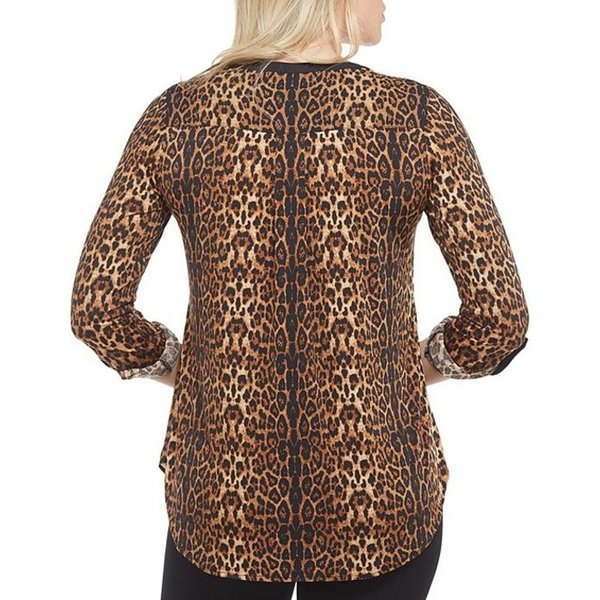 ピーター ナイガード レディース Tシャツ トップス Lace-Up Mixed Media Leopard Print Blouse