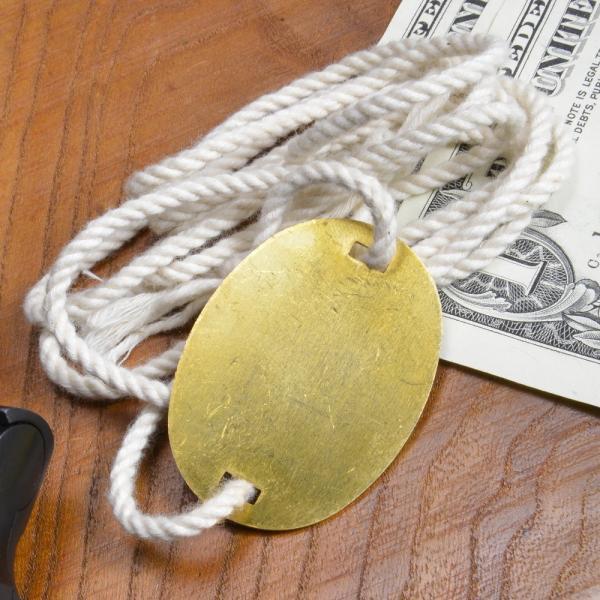 旧日本軍認識票 紐付きドッグタグ 真鍮製 WWII 復刻 ドックタグ メンズアクセサリー ひも 紐つき 識別票 Dog Tag