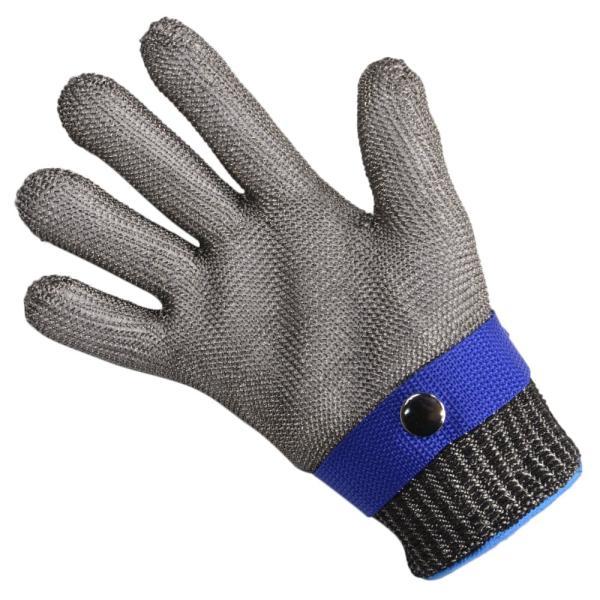 防刃グローブ 片手 ステンレスワイヤー製 インナーグローブ リストベルト付 [ Sサイズ ] 軍手 作業用グローブ 作業用手袋 防刃手袋 耐刃