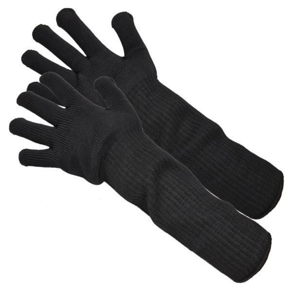 防刃グローブ ロング 1双組 ステンレスワイヤー編込 [ ブラック ] 軍手 作業用グローブ 作業用手袋 防刃手袋 耐刃 ワークグローブ
