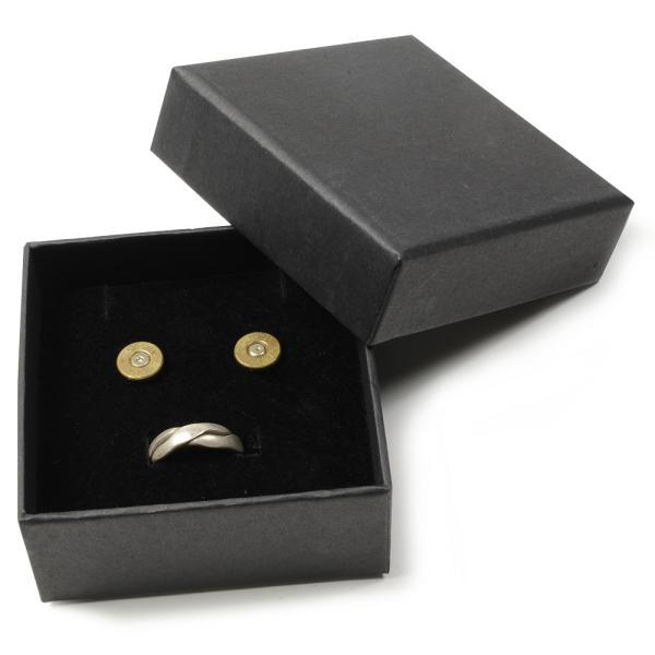 ギフトボックス 貼り箱 8×8×3.5cm アクセサリーケース [ ブラック / 1個 ] プレゼントボックス ジュエリーBOX 厚紙 スポンジ付き