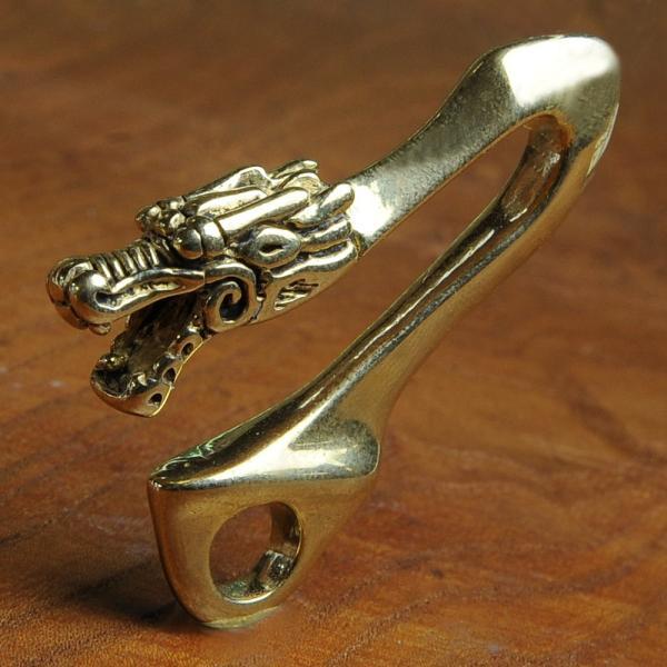 釣り針フック 真鍮 ドラゴンヘッド  ストラップ ネックレス チャーム 黄銅 龍頭 キーフック キーリング ウォレットチェーンホルダー キーチェーン