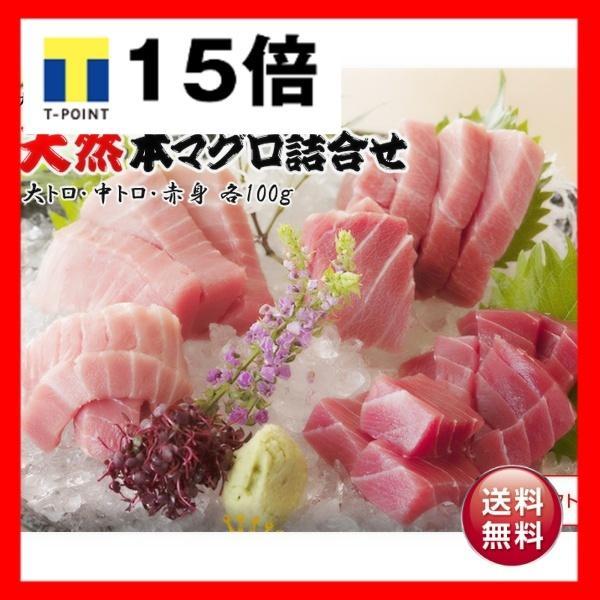 三崎恵水産 天然本マグロ詰合せセット 大トロ・中トロ・赤身 各100g、醤油・わさび付