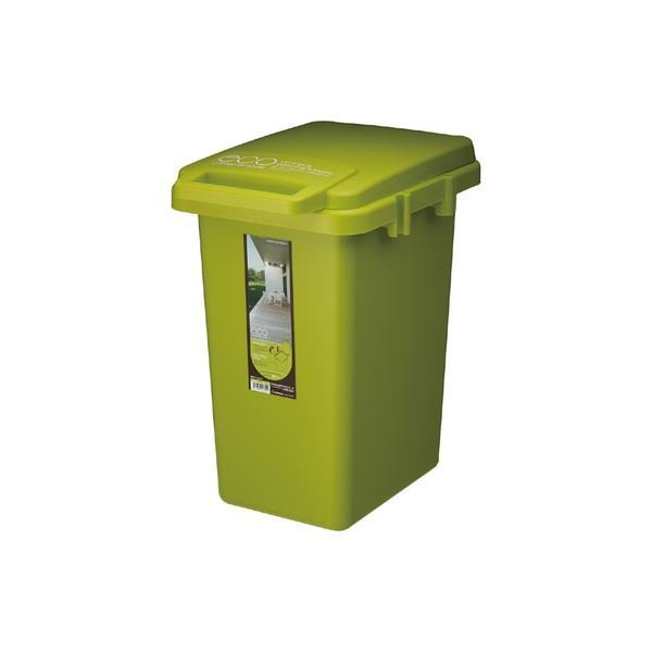 ゴミ箱/ダストボックス 〔グリーン〕 幅31.9×奥行43.6×高さ50.5cm 日本製 『コンテナスタイル 33J』 〔キッチン 台所〕